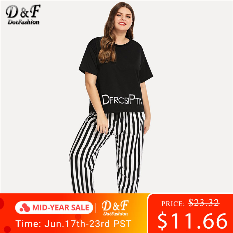 Dotfashion Plus Size Letter Print Striped   Pajama     Set   2019 Casual Black And White   Pajamas   For Women Summer Short Sleeve Nightwear