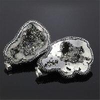 1 pz minerale Naturale minerale di pietra druzy argento colore quarzo pendente di fascino mystic titanio gem stone pavimenta strass pendente