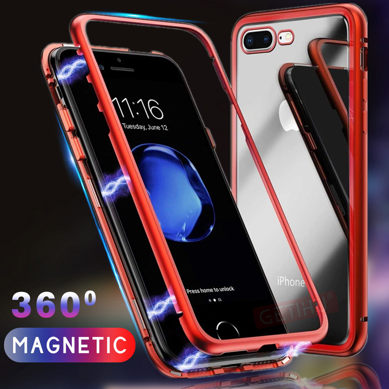 Magnetic Case For iPhone 8 7 6 6S Plus Coque Cover For Apple For iPhone XS Max XR X Case Magnet Metal Tempered Glass Back Cover iphone xr case magnetic