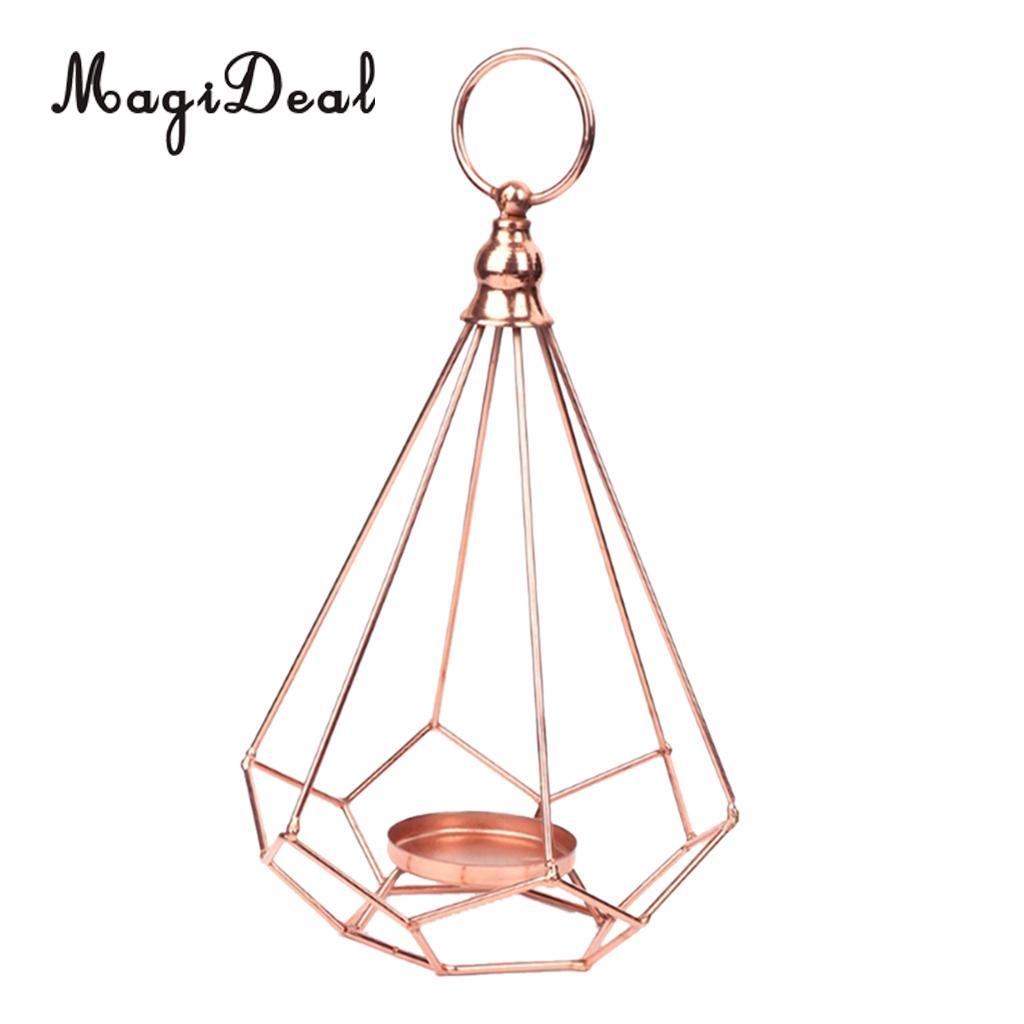 24Pcs Vintage Diamond Tea Light Candle Holder Tabletop Hanging Candlestick Candelabra Chandelier Wedding Banquet Decor