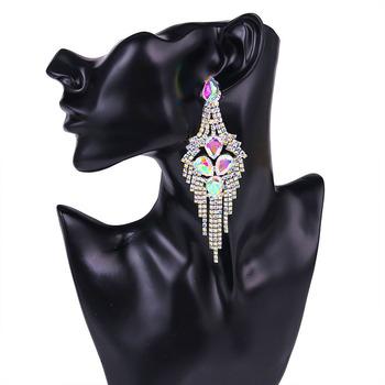Shevalues AB czyste kryształki dla nowożeńców opadające Kolczyki z długimi frędzlami druhny atrakcyjne zwisające Kolczyki biżuteria Kolczyki Modne tanie i dobre opinie Ze stopu miedzi Ze stopu cynku Spadek kolczyki Klasyczny Moda Thread Ball Earrings Nieregularne Kobiety Rhinestone