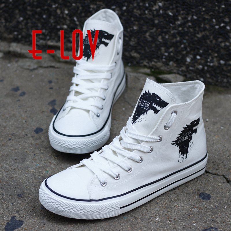 Top Brand Game of Thrones Printed Flat Canvas Shoes Women DIY Lace-Up Superstar Casual Shoes For Girls chaussure femme e lov women casual walking shoes graffiti aries horoscope canvas shoe low top flat oxford shoes for couples lovers