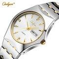 Onlyou relógios top marca de luxo de prata para os homens de negócios de aço inoxidável relógio de quartzo moda relógio vestido masculino relógio preto 8677