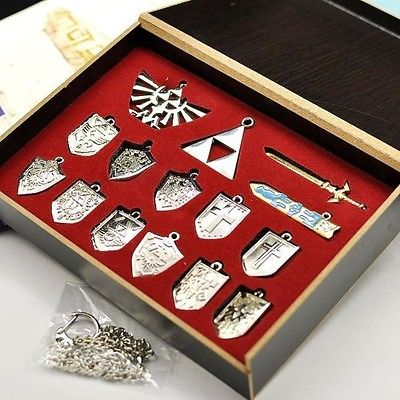 14 Pcs The Legend of Zelda Shield Skyward Sword Blade Weapons Pendants Chain keychains Necklace Set Silver Color with Retail Box
