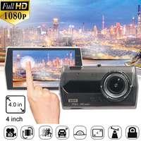 4inch IPS Full Touches Screen Car DVR Camera Mirror Front Rear 150 G Sensor Motion Detection Parking Car DVR Dash Recorder