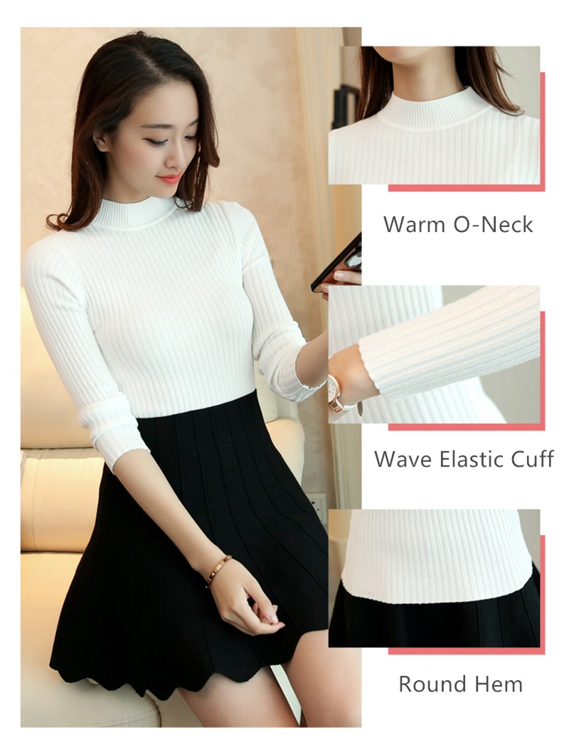 Women Cashmere Sweater Women fashion Slim Solid Autumn and Winter Knitted Warm Turtleneck Pullover Women Sweater