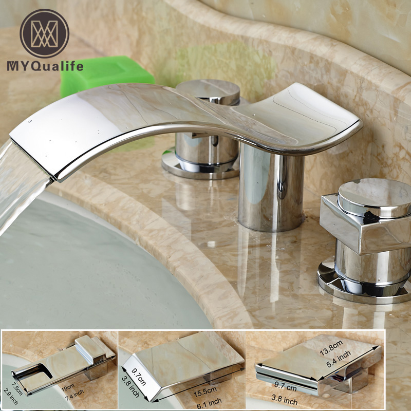 Bathroom Polished Chrome Waterfall Basin Faucet Widespread Dual Handle Mixer Tap Deck Mount 3 Holes free shipping polished chrome finish new wall mounted waterfall bathroom bathtub handheld shower tap mixer faucet yt 5333