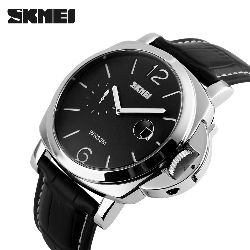 SKMEI Seconds Dial Mens Watches Top Brand Luxury Leather Strap Big Dial Quartz Watch Men Waterproof Business Wristwatch 1124 ttlife waterproof quartz watch men business classic big dial watches men leather sport wristwatches brand luxury relojes hombre