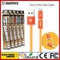 Remax aurora 2 em 1 para iphone & carregamento micro usb cabo de dados para iphone e samsung huawei xiaomi