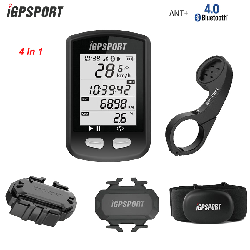 IGPSPORT bicicleta cronómetro inalámbrico GPS bicicleta ordenador ciclismo odómetro w ritmo cardíaco/velocidad y Sensor de cadencia/montaje frontal