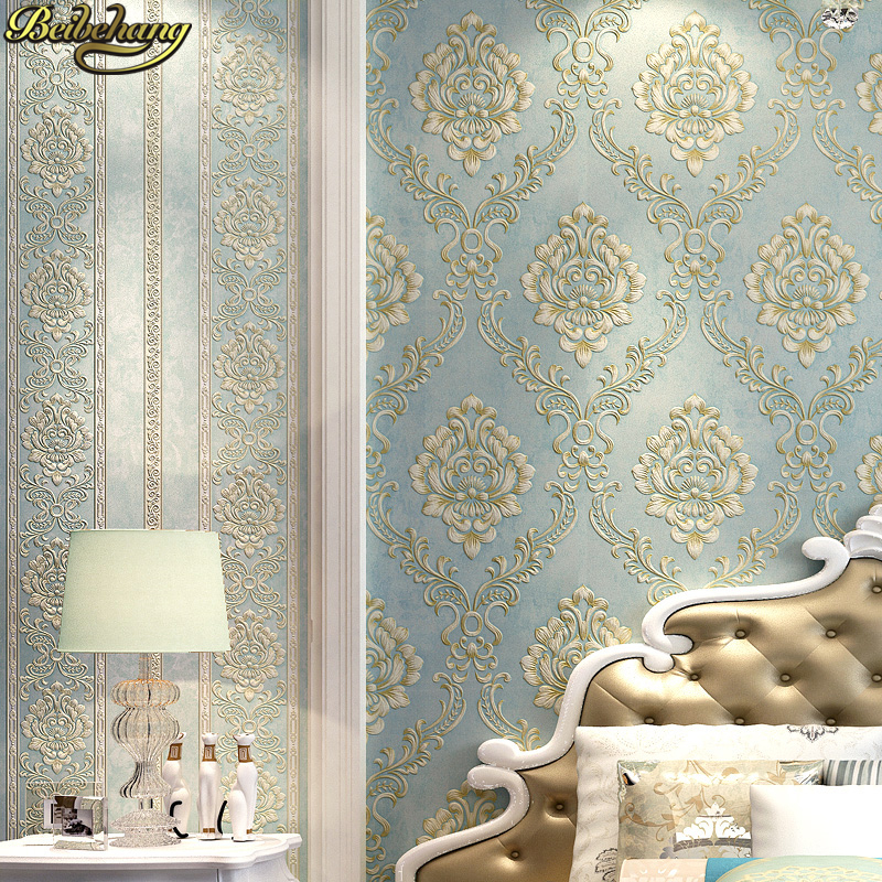 US $31.5 25% OFF|beibehang embossed bedroom wallpaper Modern damask  wallpaper white wallcovering classic wall papers 3d wallpaper for living  room-in ...