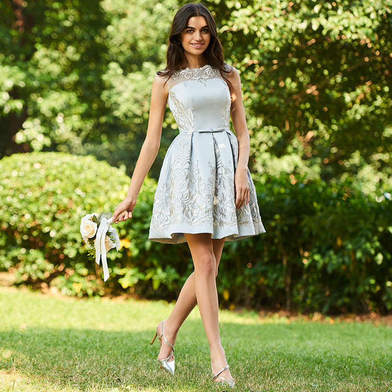 Tanpell short   bridesmaid     dress   light gray cap sleeves above knee gown women homecoming wedding party formal   bridesmaid     dresses