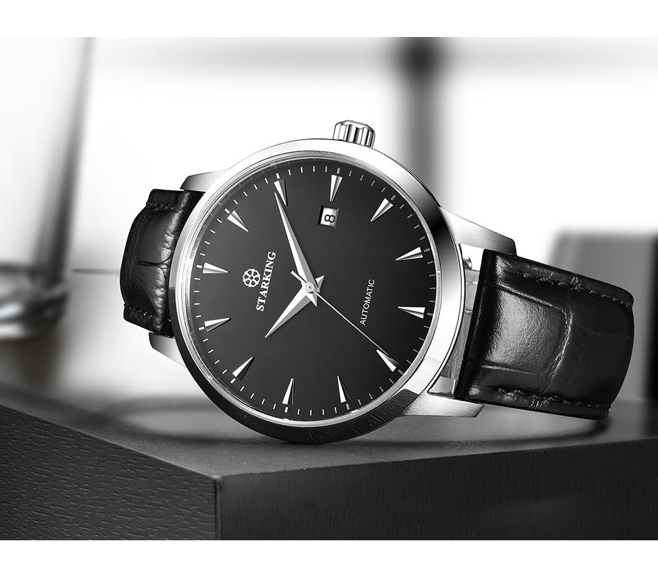 HTB14TPhk7KWBuNjy1zjq6AOypXat STARKING Automatic Watches Men Stainless Steel Business Wristwatch Leather Fashion 50M Waterproof Male Clock Relogio Masculino