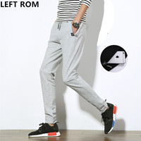 LEFT ROM Male Spring Summer Fashion Solid Color Trousers Pure Cotton Boutique Slim Mens Business Casual