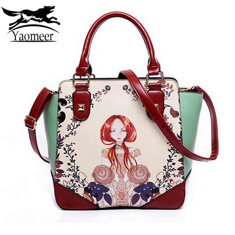 Famous Designer Italian Handbags New Luxury Brand Women Messenger Shoulder Bag Flower Pu Leather Printed Bags Female Girl Totes bailar fashion women shoulder handbags messenger bags button rivets totes high quality pu leather crossbody famous brand bag