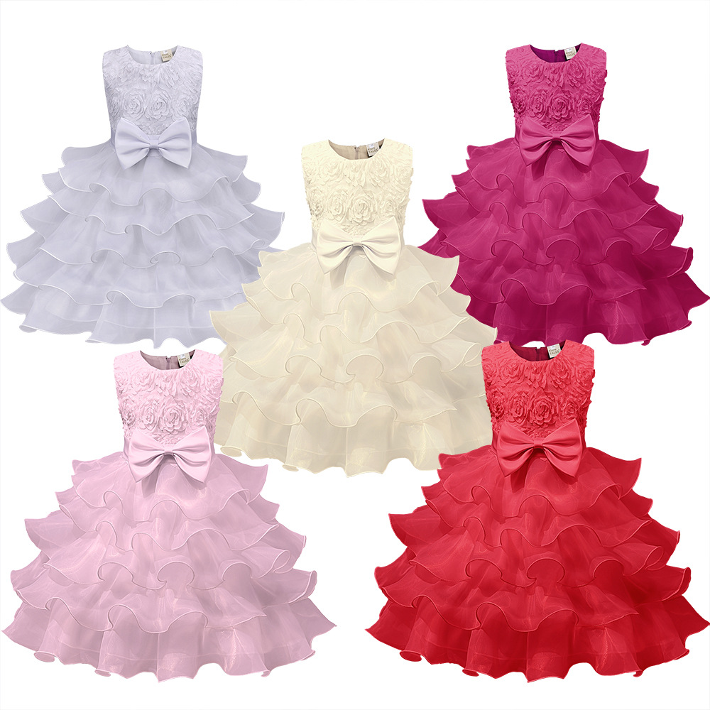 Kids Girls Flower Dress Baby Girl Birthday Party Dresses Children Fancy Princess Ball Gown Wedding Clothes Tutu Princess Dress children girls christmas dress kids tulle new year clothes fancy princess ball gown baby girl xmas party tutu dress costumes