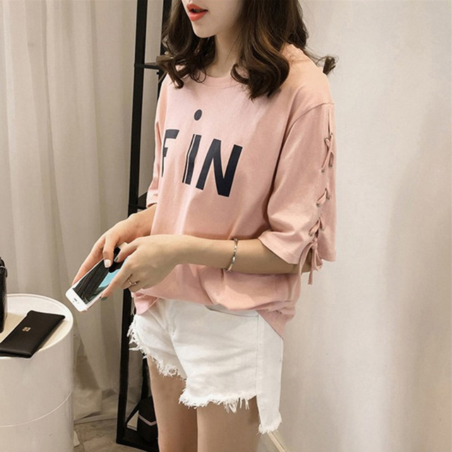 310cdd4c2df Tumblr Hot Sale O-neck Cotton Wholesale 2018 Summer New Korean Version Of Sleeved  T - Shirt Lady Loose Size Coat Women s Wear
