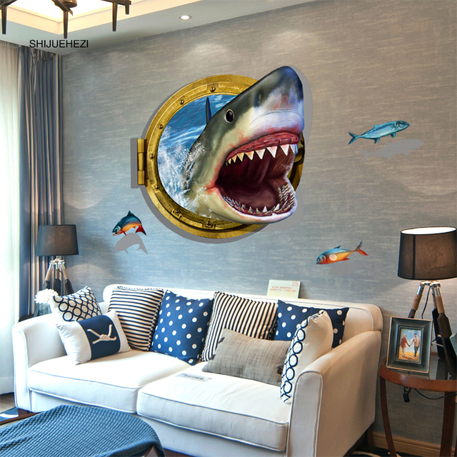 fierce shark 3d wall sticker pvc material modern diy home decor wall