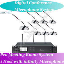 High-end MICWL Digital Wireless Microphone Conference System with 20 Gooseneck Mic - 1 President 19 Delegates Desk Unit high end uhf 8x50 channel goose neck desk wireless conference microphones system for meeting room