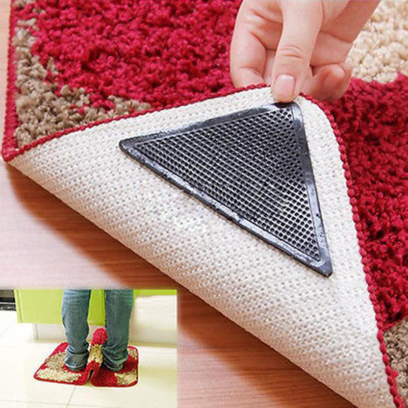 New 4pcs Rug Carpet Mat Grippers Non Slip Reusable Washable Silicone Grip For Bathroom And House Supplies