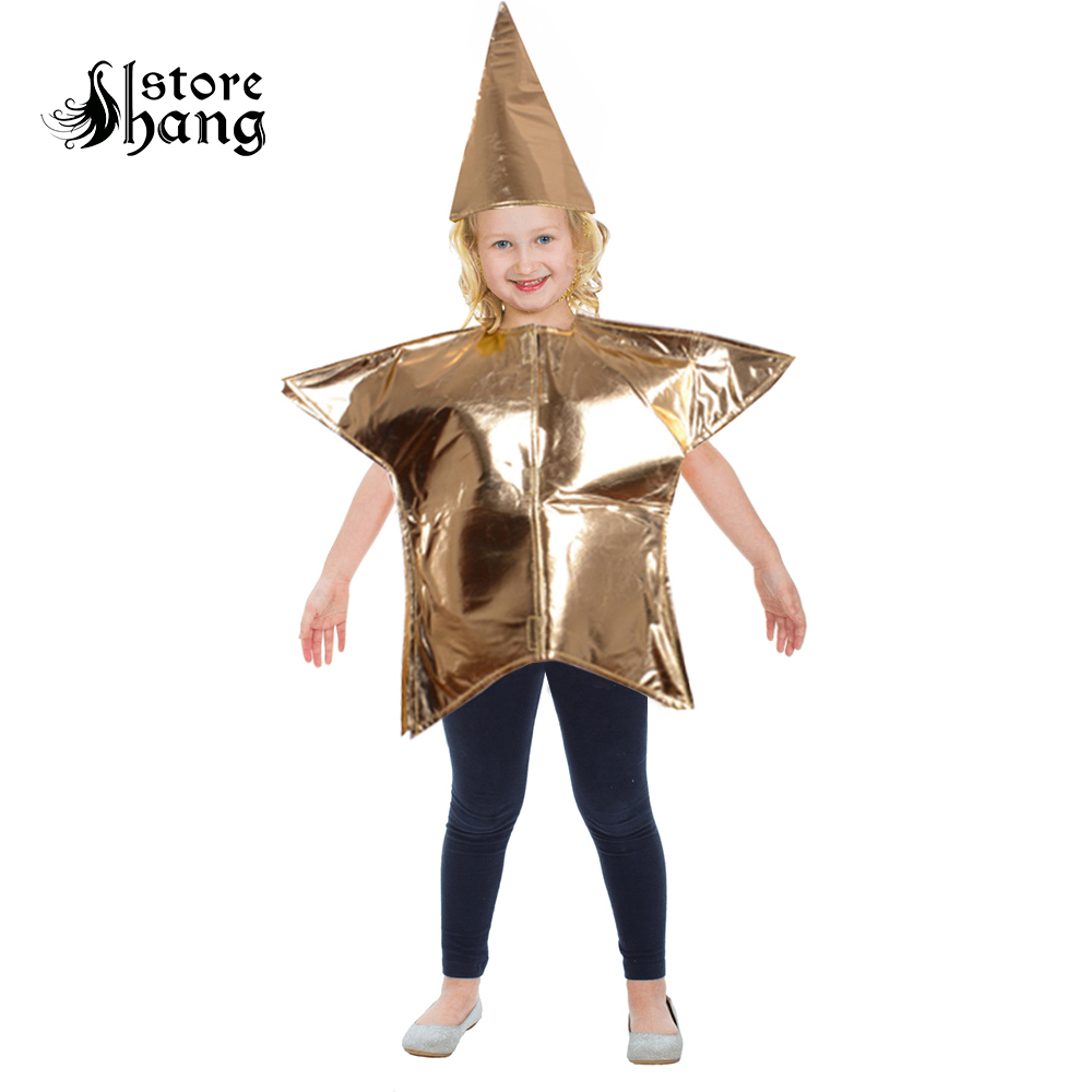 Kids Gold Star Costume Fancy Dress Gold Children Five Point Star Outfit Boys Girls Nativity Christmas Party Costume Adult Child