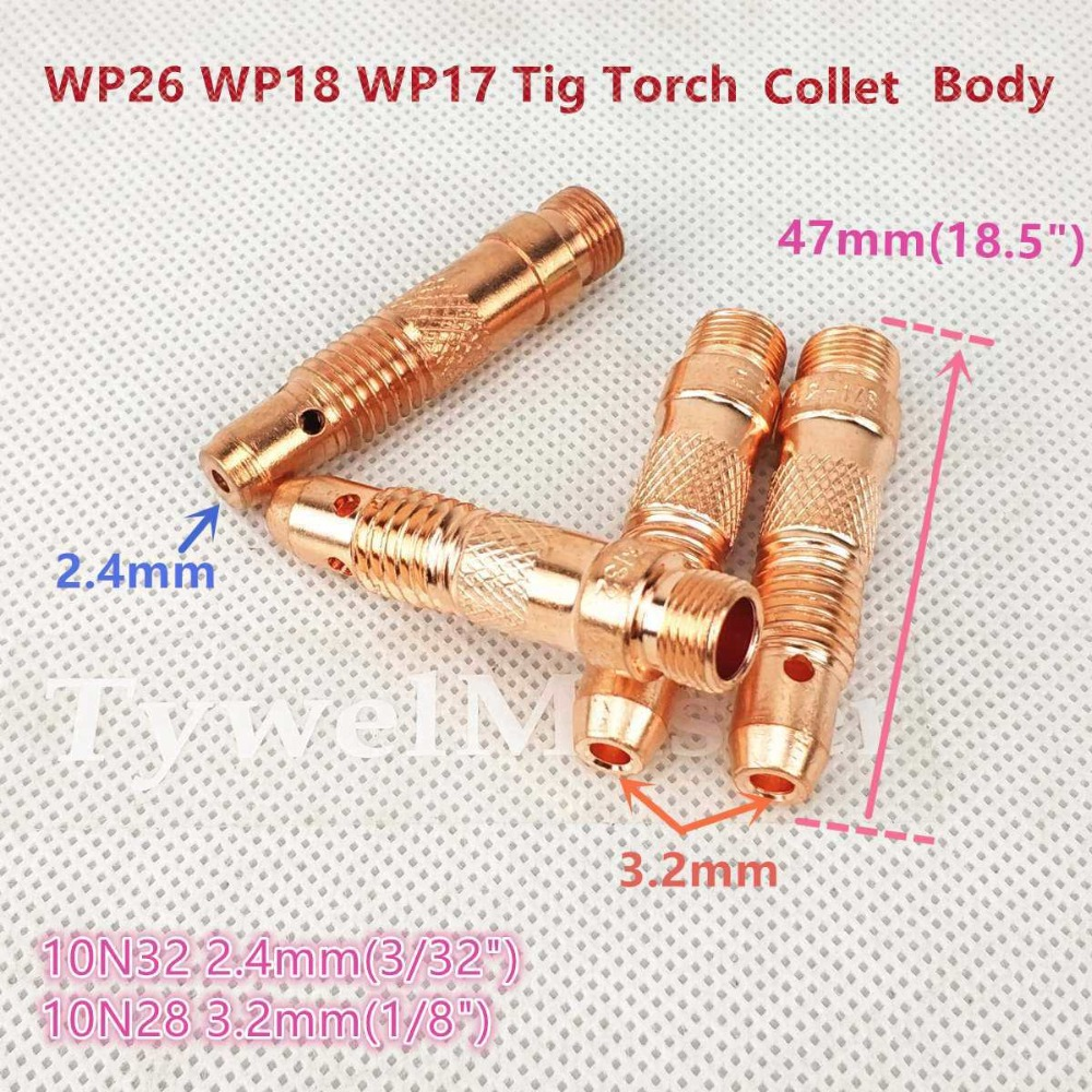 5 pcs 17CB20 Short Collet Body Tig Welding Torch WP-17 WP-18 WP-26 3.2mm 1//8/""