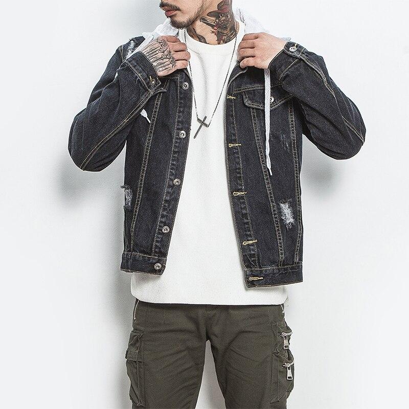Japan Style Mens Jeans Jacket Black Denim Jackets Hip Pop Streetwear Cool Man Coat Big Size M-5XL Bomber Jacket for Male Boys