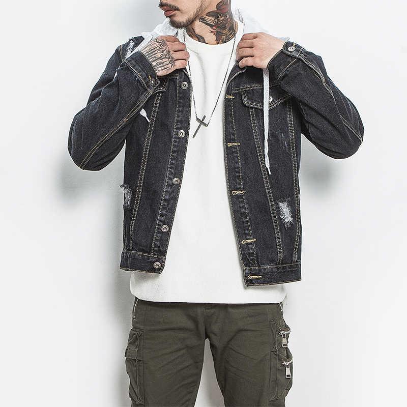 日本スタイルメンズジーンズジャケットブラックデニムジャケットヒップポップストリートクール男のコートビッグサイズm-5xlボンバージャケット用男性男の子