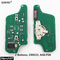 QCONTROL Car Remote Key Electronic Circuit Board for Peugeot 207 307 308 407 807 Expert Partner CC SW (CE0523 ASK/FSK) 2BT