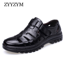ZYYZYM Men Sandals Genuine Leather New 2019 Summer Shoes High Quality Mens Ventilation Casual Male Brand Non-slip