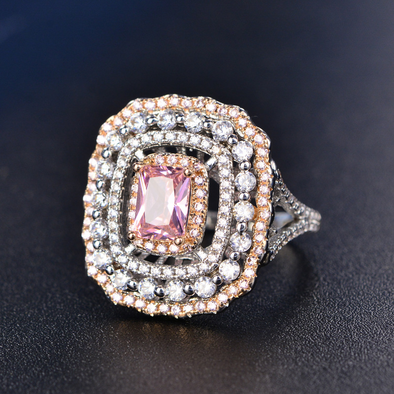 Wedding Rings For Women Silver S925 Sterling Fine Jewelry Pink Topaz Square Luxury Ring Bridal Engagement Rinngen AccessoriesWedding Rings For Women Silver S925 Sterling Fine Jewelry Pink Topaz Square Luxury Ring Bridal Engagement Rinngen Accessories