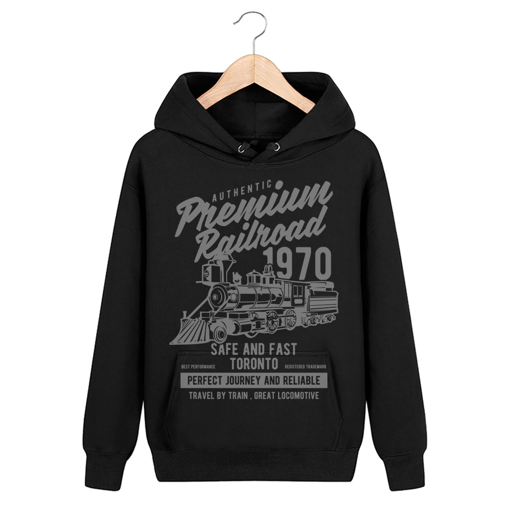 Bloodhoof Premium Railroad Locomotive Printing Black Cotton Pullover Men Hip Hop Unisex Tops  Hoodie  Asia Size