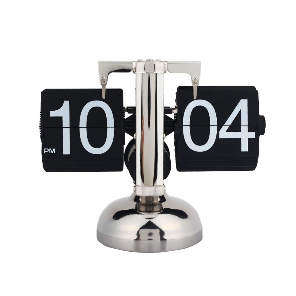 Quartz Retro Flip Clock Gear Auto Flip Desk Table Clock Single Matel Stand Modern Home Decor Internal Gear Operated Black Hot