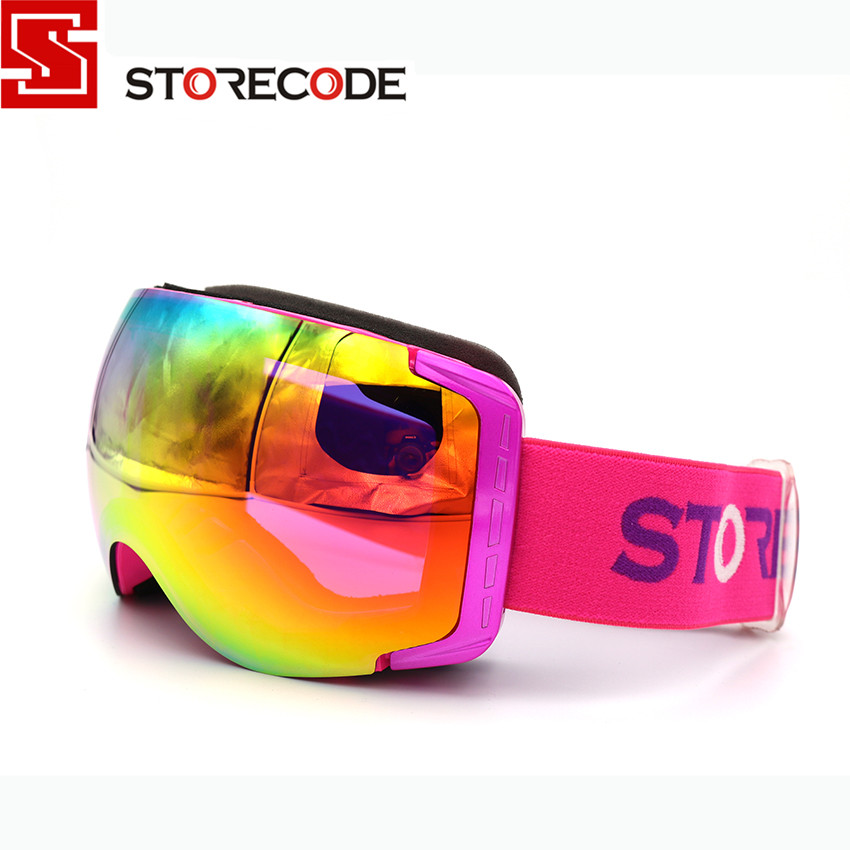 StoreCode Brand New Ski Goggles Double Lens Anti-Fog UV400 Snowboard Glasses Men Women Purple Frame Skiing Snow Goggles Set 658 new women s sunglasses metal frame reflective coating mirror flat panel lens brand designer sun glasses for women oculos de sol