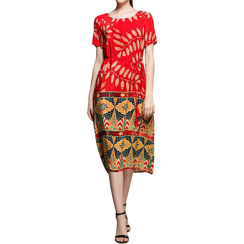 Women Red Print Vintage Dress Women Round Neck Short Sleeve 2018 Woman Summer Dresses Casual  Midi Dress Ladies Elegant Vestidos