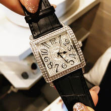Wome Quartz Wristwatch Square Full Diamond Female Watch Arabic Numerals Digital Scale  Genuine Leather Watchband