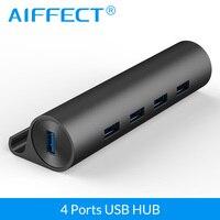 Aiffect 4 Порты и разъёмы Алюминий SuperSpeed USB3.0 концентратор с Micro USB Мощность Порты и разъёмы телефон стенд OTG Функция концентратора данных Трансми...