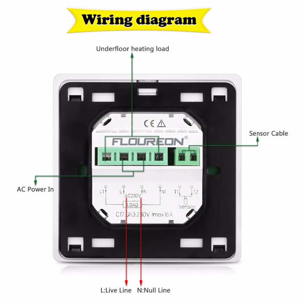Programmable Room Stat Wiring Diagram Sensor Light Aliexpress Com Buy Floureon Byc17gh3 Lcd Touch Screen Underfloor Heating Thermostat Weekly Thermoregulator Temperature Controller From