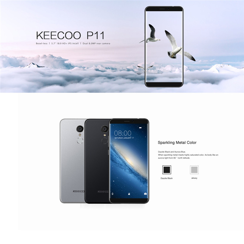 KEECOO P11 Unlocked Smartphone 5.7 Display Smartphone Android 7.0 4G LTE WCDMA GSM Dual SIM,16GB/8MP smartphone android 7.0 4g