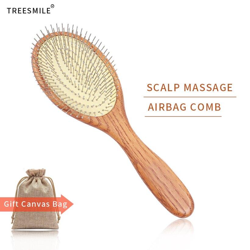 Wooden Steel Needle Hair Brush Pin Hairbrush Scalp Massage Improve Hair Health Wood Paddle Detangling Comb