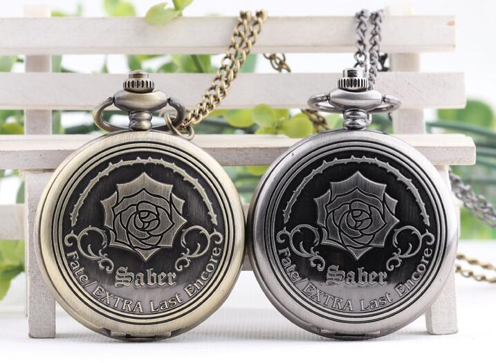 Retro Emboss Flower Fate/Extra Last Encore TV Animation Quartz Pocket Watch Analog Pendant Necklace Chain Mens Womens Montre