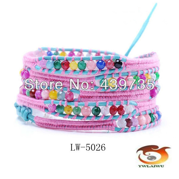 Fashion jewelry with pink rope weaving on blue leather Multilayer Bracelets with natural stone Lucky bracelets for girls LW-5026
