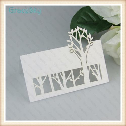 50pcs Free Shipping Tree Shape Laser Cutting Wedding Christmas