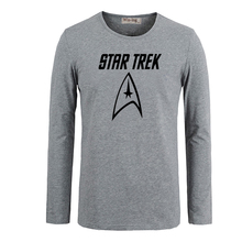 Science Fiction Film Classics Star Trek Crew Men Cotton Long Sleeve Tops for Boy Casual Clothing Anime cosplay family T shirt