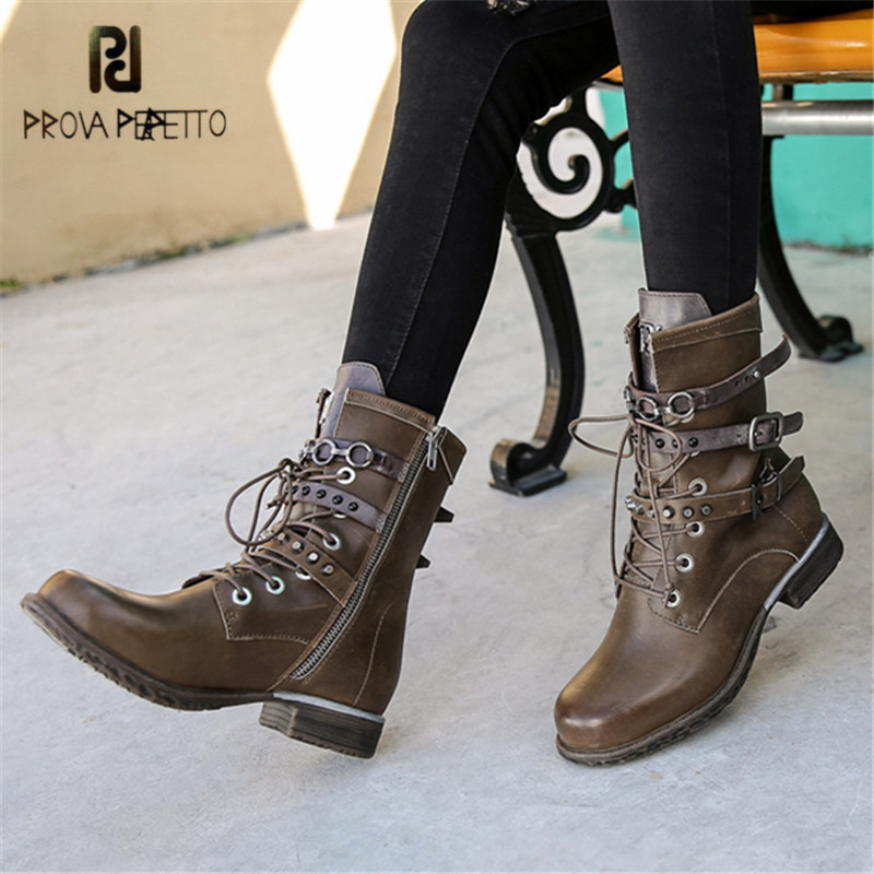 Prova Perfetto Ankle Boots for Women Straps Gladiator Martin Boots Platform Rubber Shoes Woman Ladies Short Booties Flat Botas
