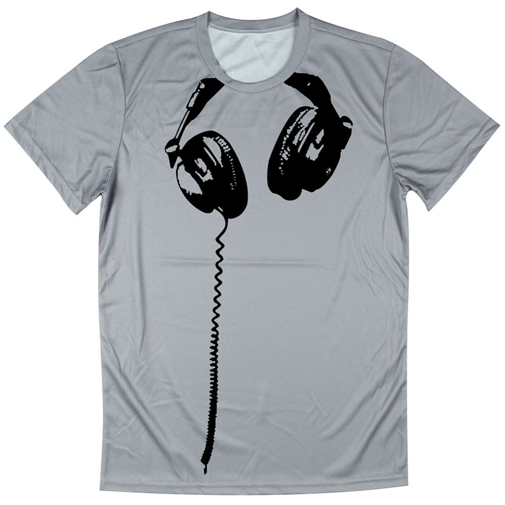 Shirt design boy 2016 - New 2016 Men T Shirts 3d Funny Tshirt Men Headphone Design T Shirt Boys Short Sleeve Tops T Shirt Polyester Tees Euro Size S 4xl In T Shirts From Men S