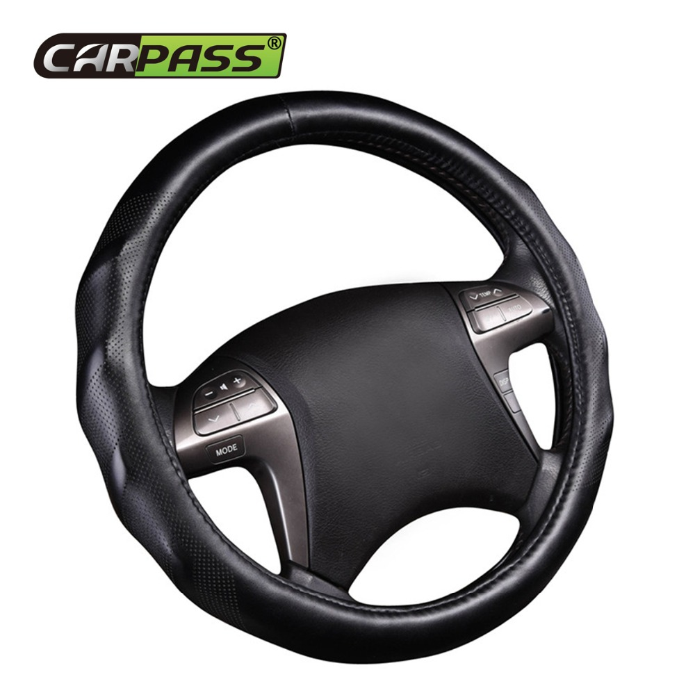 1PC Brand Car-pass 38cm Car Steering Wheel Cover Extremely soft Leather braid on the steering-wheel of Car Interior accessories top cowhide sew on genuine leather steering wheel cover for chevrolet captiva at