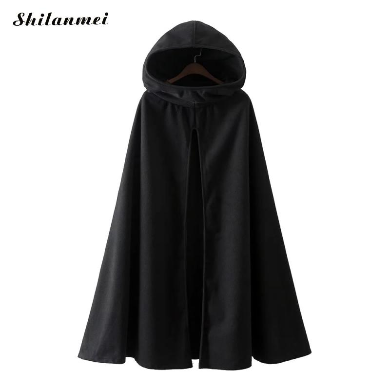 2019 Winter Cloak Hooded Coat Women Vintage Gothic Cape Poncho Coat Medieval Victorian Warm Long Cape   Trench   Coat