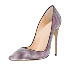 Dropshipping Brand New Spring Summer Sexy Pointed Toe Pumps Shoes Sequin Cloth Women Thin High Heels Big Size D022A