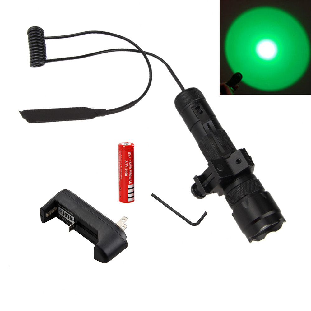 Green Hunting LED 502B Tactical Flashlight Torch Lamp +Remote Pressure Switch+Light Mount Gun+Charger+18650 502d led tactical gun flashlight handgun torch light lamp hunting torch remote switch gun mount